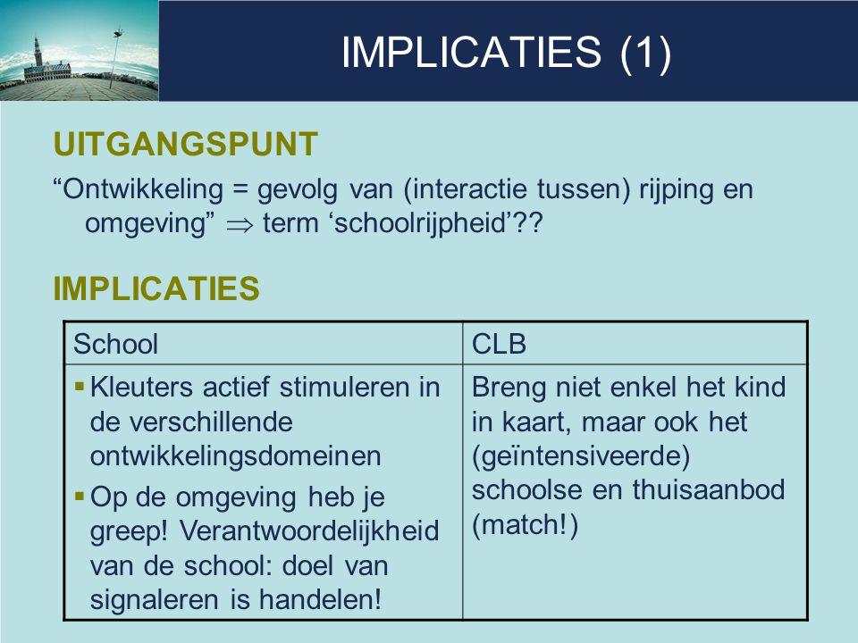 """IMPLICATIES (1) UITGANGSPUNT """"Ontwikkeling = gevolg van (interactie tussen) rijping en omgeving""""  term 'schoolrijpheid'?? IMPLICATIES SchoolCLB  Kle"""