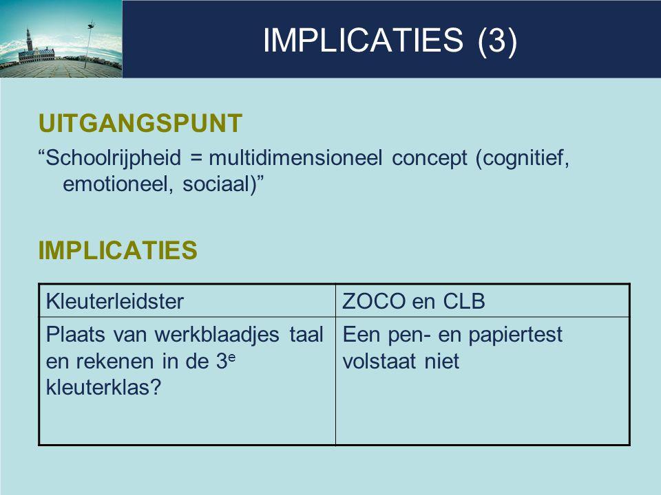 IMPLICATIES (4) UITGANGSPUNT Cognitief: specifieke leervoorwaarden voor taal en rekenen IMPLICATIES KleuterleidsterZOCO en CLB Gericht (spelend) bezig zijn met fonologisch bewustzijn en getalbegrip Inhoud van de pen- en papiertest.