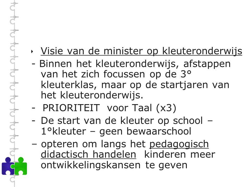  Visie van de minister op kleuteronderwijs - Binnen het kleuteronderwijs, afstappen van het zich focussen op de 3° kleuterklas, maar op de startjaren van het kleuteronderwijs.