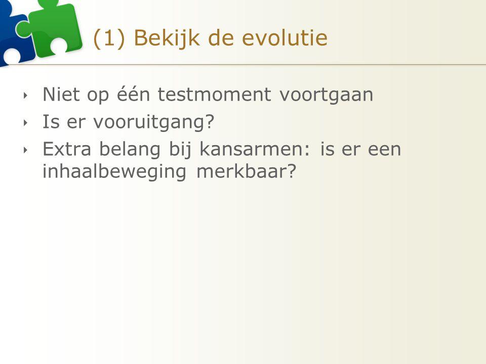 (1) Bekijk de evolutie  Niet op één testmoment voortgaan  Is er vooruitgang.