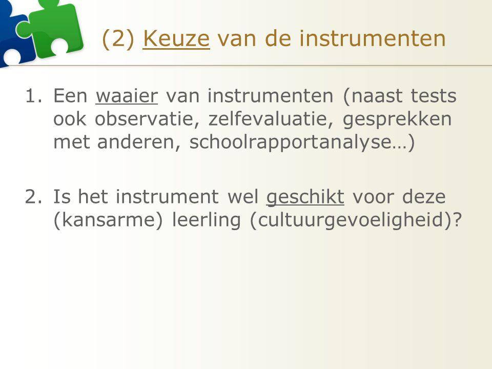 (2) Keuze van de instrumenten 1.Een waaier van instrumenten (naast tests ook observatie, zelfevaluatie, gesprekken met anderen, schoolrapportanalyse…) 2.Is het instrument wel geschikt voor deze (kansarme) leerling (cultuurgevoeligheid)?