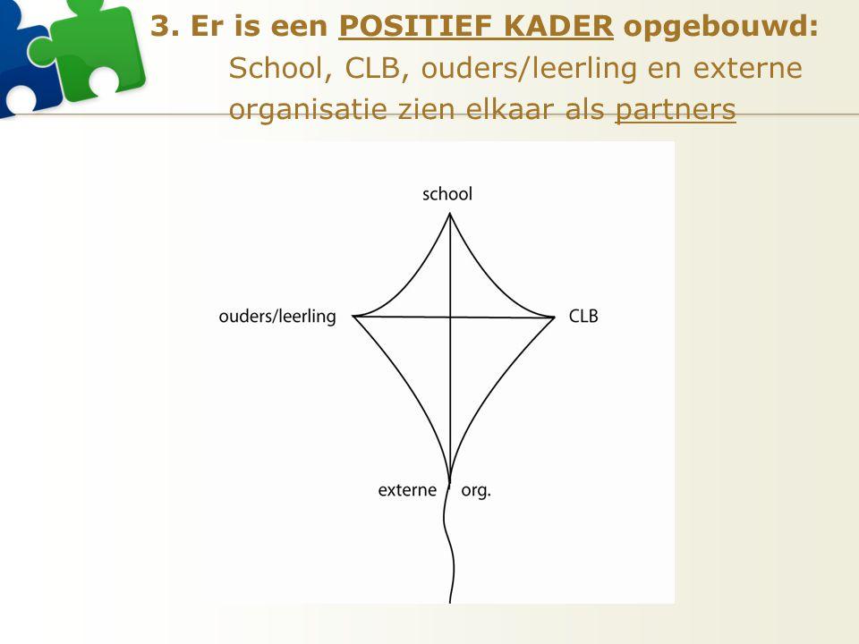 3. Er is een POSITIEF KADER opgebouwd: School, CLB, ouders/leerling en externe organisatie zien elkaar als partners