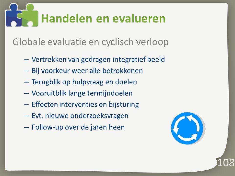 Handelen en evalueren Globale evaluatie en cyclisch verloop – Vertrekken van gedragen integratief beeld – Bij voorkeur weer alle betrokkenen – Terugblik op hulpvraag en doelen – Vooruitblik lange termijndoelen – Effecten interventies en bijsturing – Evt.