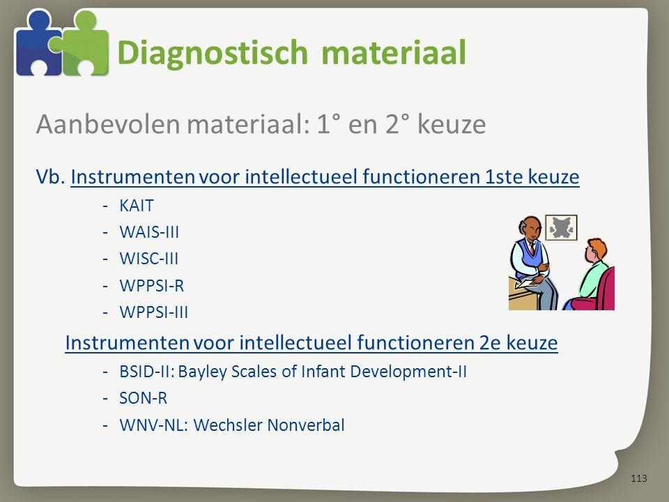 113 Diagnostisch materiaal Aanbevolen materiaal: 1° en 2° keuze Vb.