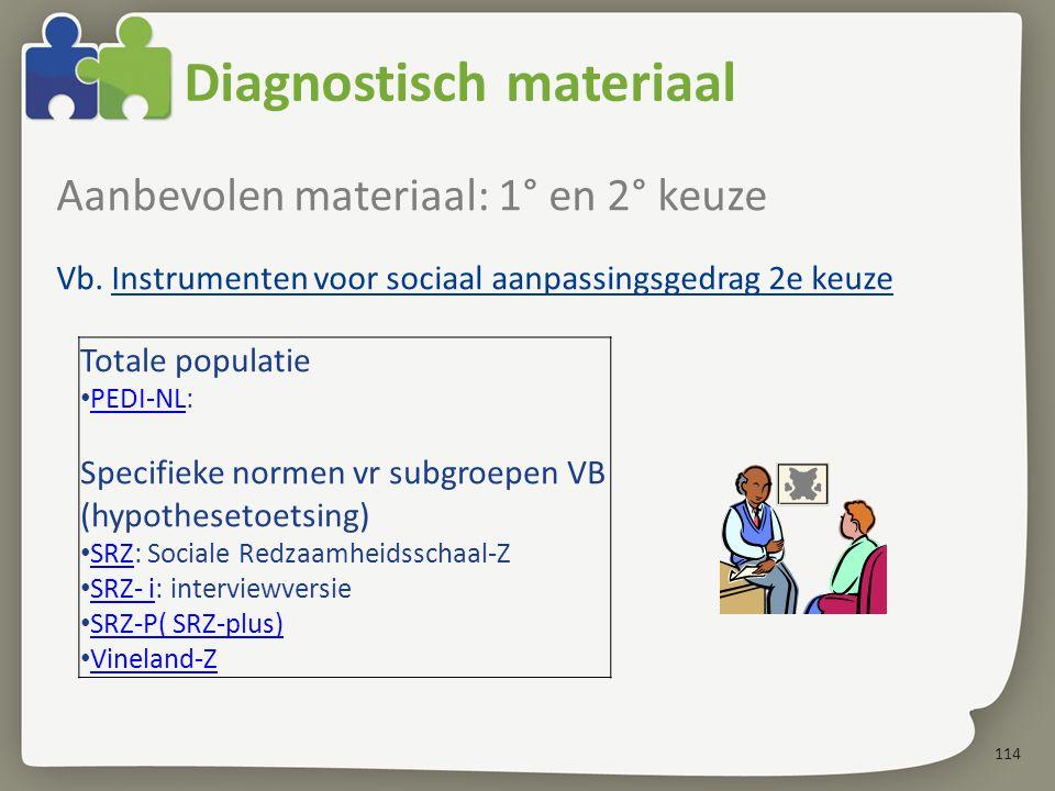 114 Diagnostisch materiaal Aanbevolen materiaal: 1° en 2° keuze Vb.