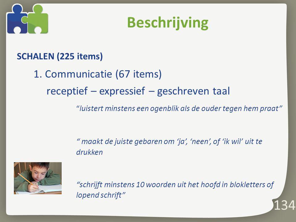 134 Beschrijving SCHALEN (225 items) 1.