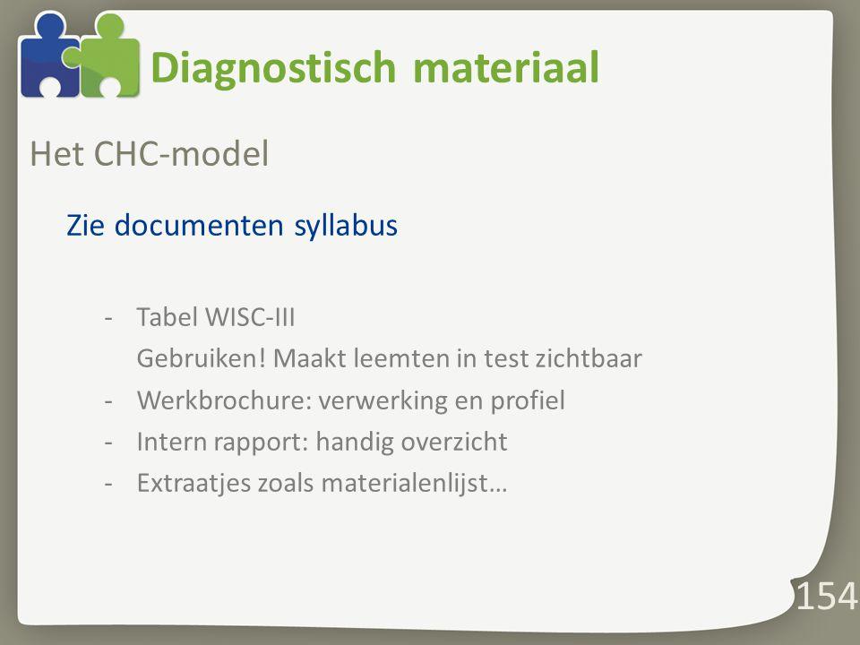 Diagnostisch materiaal Het CHC-model Zie documenten syllabus -Tabel WISC-III Gebruiken.