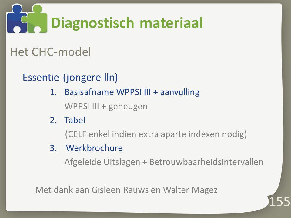 Diagnostisch materiaal Het CHC-model Essentie (jongere lln) 1.Basisafname WPPSI III + aanvulling WPPSI III + geheugen 2.Tabel (CELF enkel indien extra aparte indexen nodig) 3.