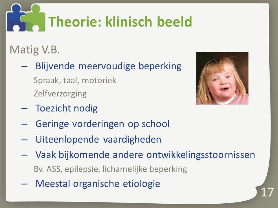 Theorie: klinisch beeld Matig V.B.
