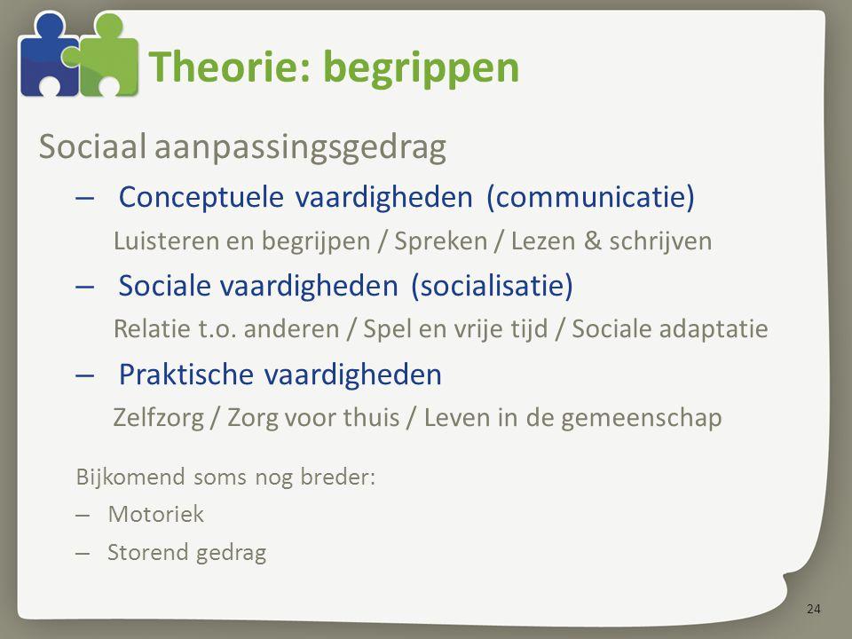 24 Theorie: begrippen Sociaal aanpassingsgedrag – Conceptuele vaardigheden (communicatie) Luisteren en begrijpen / Spreken / Lezen & schrijven – Sociale vaardigheden (socialisatie) Relatie t.o.