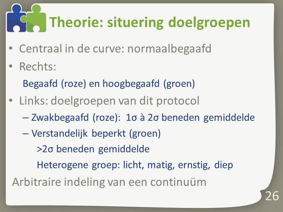 Theorie: situering doelgroepen Centraal in de curve: normaalbegaafd Rechts: Begaafd (roze) en hoogbegaafd (groen) Links: doelgroepen van dit protocol – Zwakbegaafd (roze): 1σ à 2σ beneden gemiddelde – Verstandelijk beperkt (groen) >2σ beneden gemiddelde Heterogene groep: licht, matig, ernstig, diep Arbitraire indeling van een continuüm 26