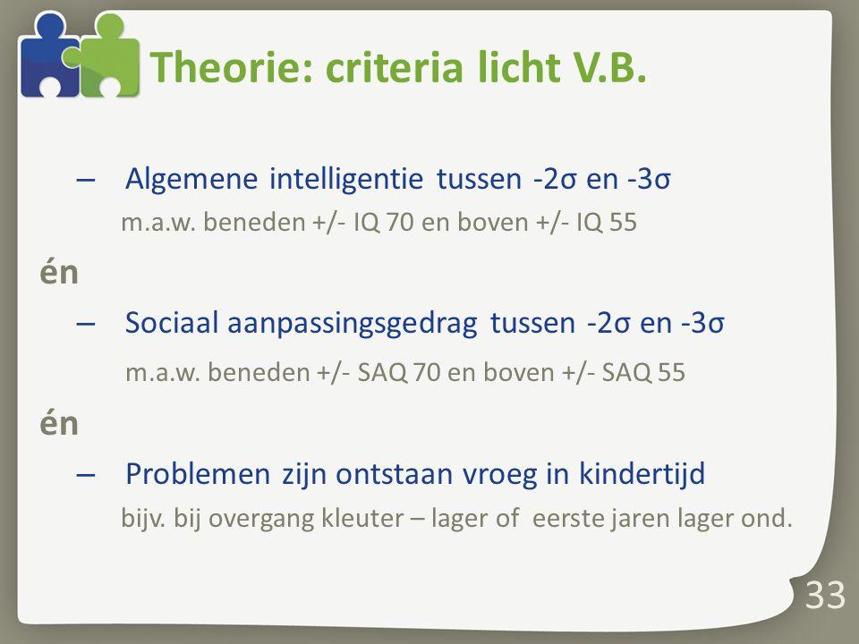 33 Theorie: criteria licht V.B.– Algemene intelligentie tussen -2σ en -3σ m.a.w.