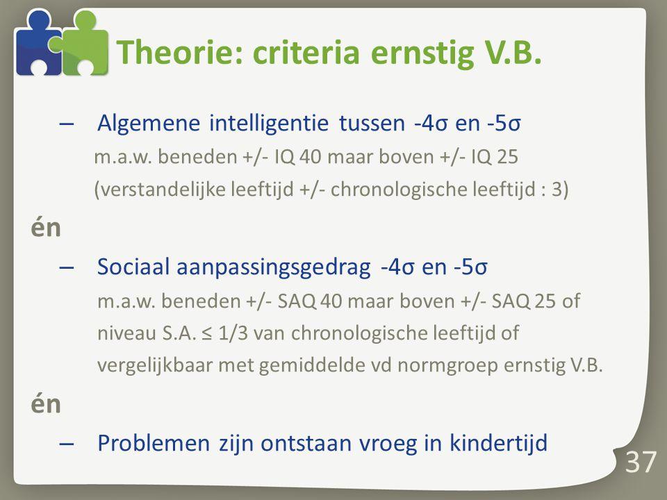37 Theorie: criteria ernstig V.B.– Algemene intelligentie tussen -4σ en -5σ m.a.w.