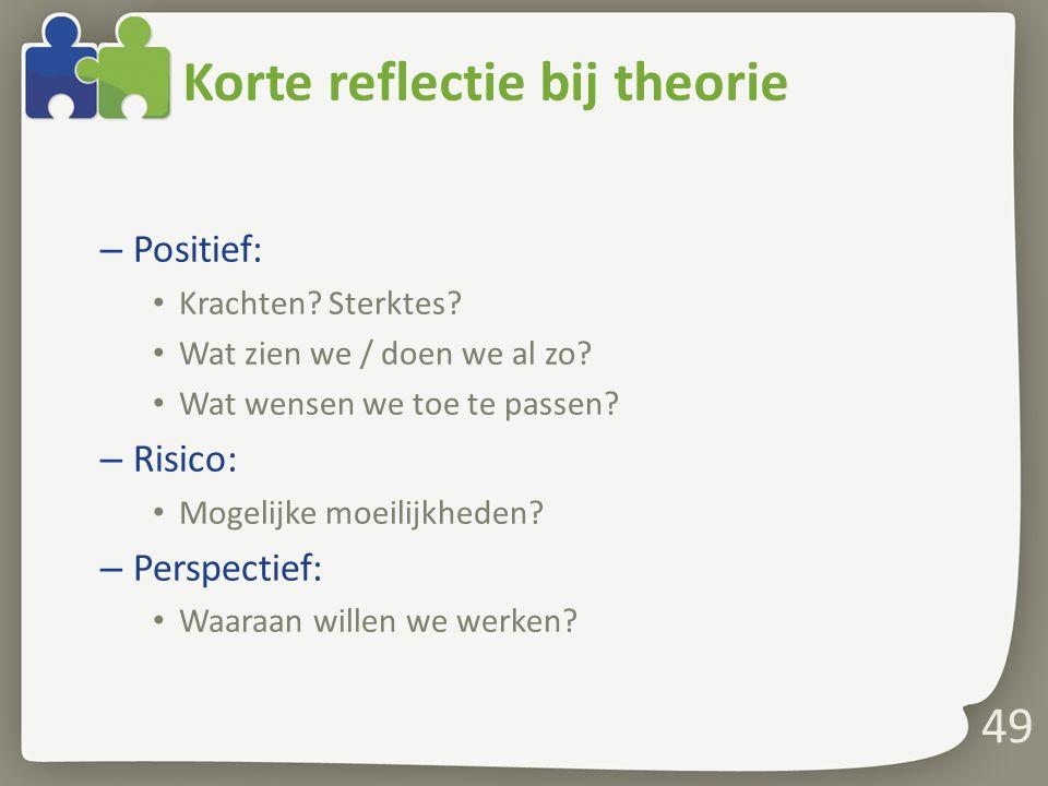 Korte reflectie bij theorie – Positief: Krachten.Sterktes.
