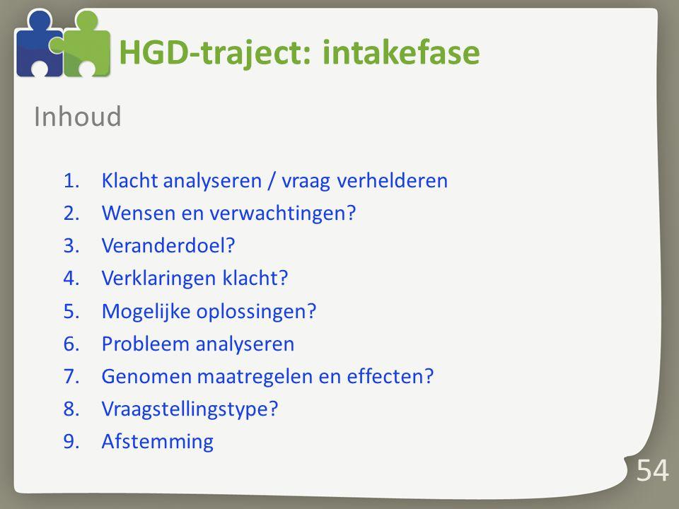 54 HGD-traject: intakefase Inhoud 1.Klacht analyseren / vraag verhelderen 2.Wensen en verwachtingen.