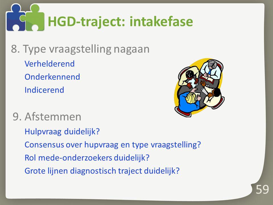 HGD-traject: intakefase 8.Type vraagstelling nagaan Verhelderend Onderkennend Indicerend 9.