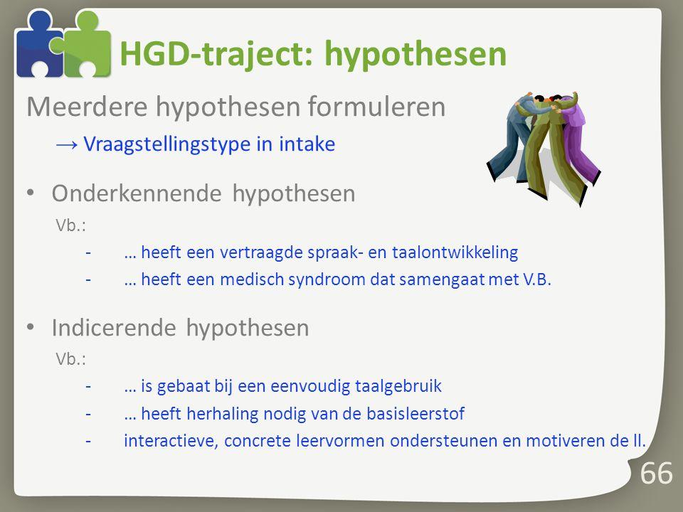 66 Meerdere hypothesen formuleren → Vraagstellingstype in intake Onderkennende hypothesen Vb.: -… heeft een vertraagde spraak- en taalontwikkeling -… heeft een medisch syndroom dat samengaat met V.B.