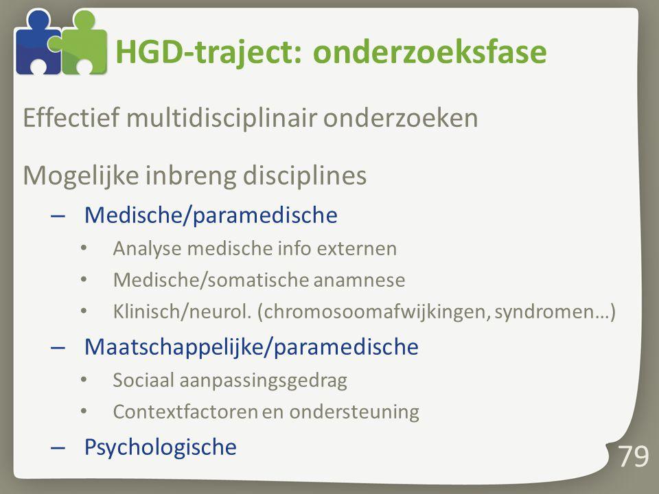 HGD-traject: onderzoeksfase Effectief multidisciplinair onderzoeken Mogelijke inbreng disciplines – Medische/paramedische Analyse medische info externen Medische/somatische anamnese Klinisch/neurol.