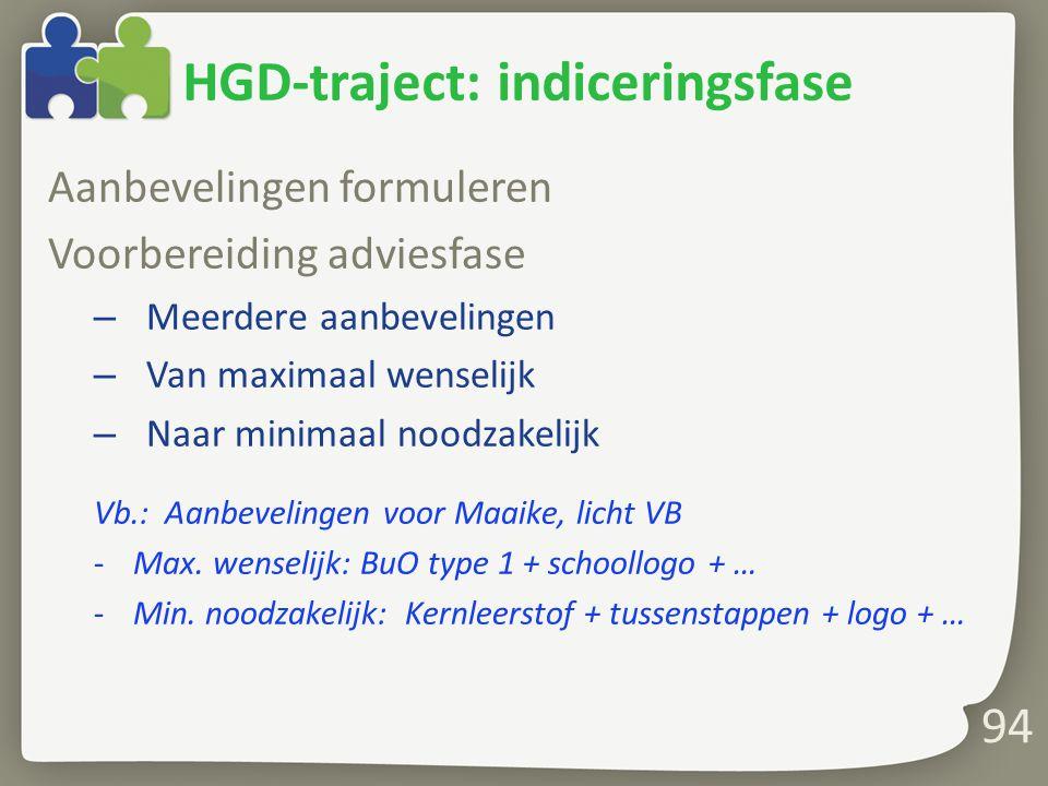 HGD-traject: indiceringsfase Aanbevelingen formuleren Voorbereiding adviesfase – Meerdere aanbevelingen – Van maximaal wenselijk – Naar minimaal noodzakelijk Vb.: Aanbevelingen voor Maaike, licht VB -Max.