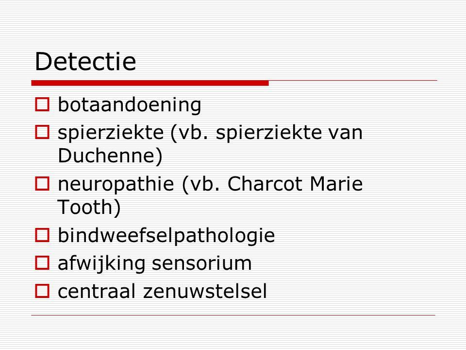 Detectie  botaandoening  spierziekte (vb. spierziekte van Duchenne)  neuropathie (vb. Charcot Marie Tooth)  bindweefselpathologie  afwijking sens