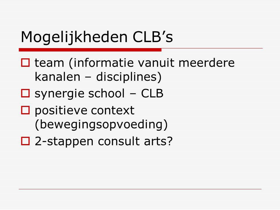 Mogelijkheden CLB's  team (informatie vanuit meerdere kanalen – disciplines)  synergie school – CLB  positieve context (bewegingsopvoeding)  2-sta
