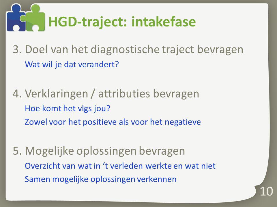 HGD-traject: intakefase 3. Doel van het diagnostische traject bevragen Wat wil je dat verandert? 4. Verklaringen / attributies bevragen Hoe komt het v
