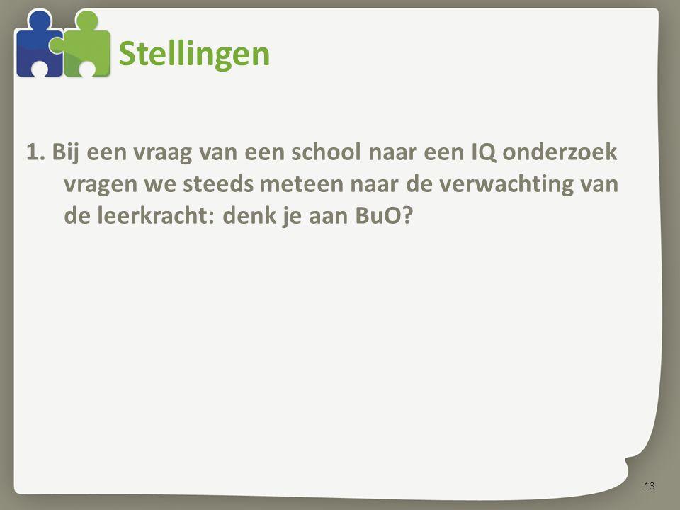 13 Stellingen 1. Bij een vraag van een school naar een IQ onderzoek vragen we steeds meteen naar de verwachting van de leerkracht: denk je aan BuO?