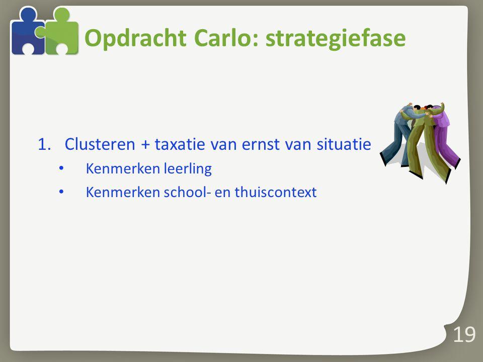 19 1.Clusteren + taxatie van ernst van situatie Kenmerken leerling Kenmerken school- en thuiscontext Opdracht Carlo: strategiefase