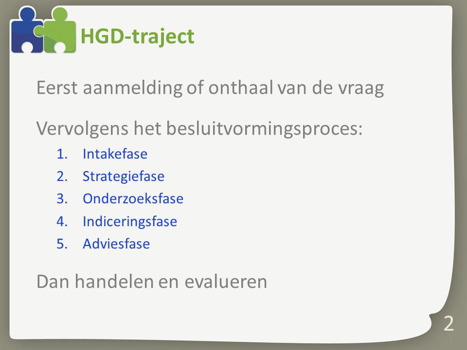 2 HGD-traject Eerst aanmelding of onthaal van de vraag Vervolgens het besluitvormingsproces: 1.Intakefase 2.Strategiefase 3.Onderzoeksfase 4.Indicerin