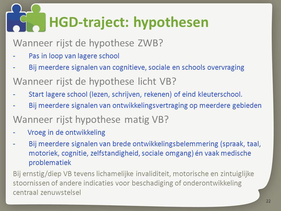 22 Wanneer rijst de hypothese ZWB? -Pas in loop van lagere school -Bij meerdere signalen van cognitieve, sociale en schools overvraging Wanneer rijst