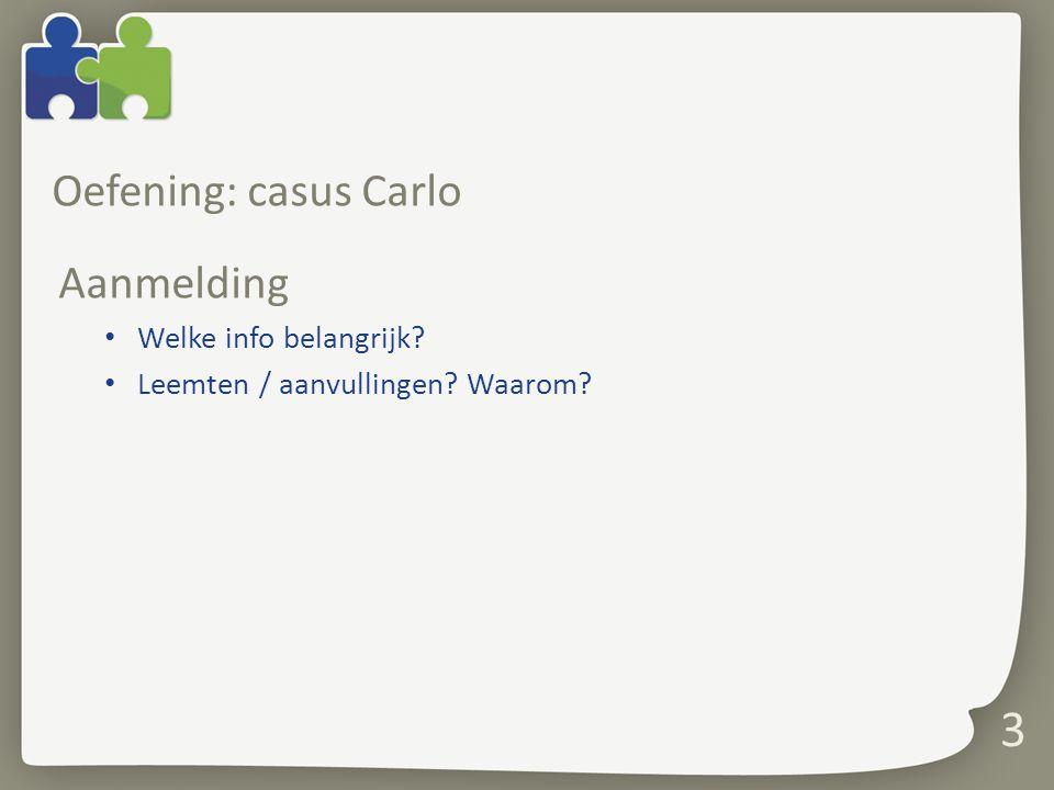 3 Oefening: casus Carlo Aanmelding Welke info belangrijk? Leemten / aanvullingen? Waarom?