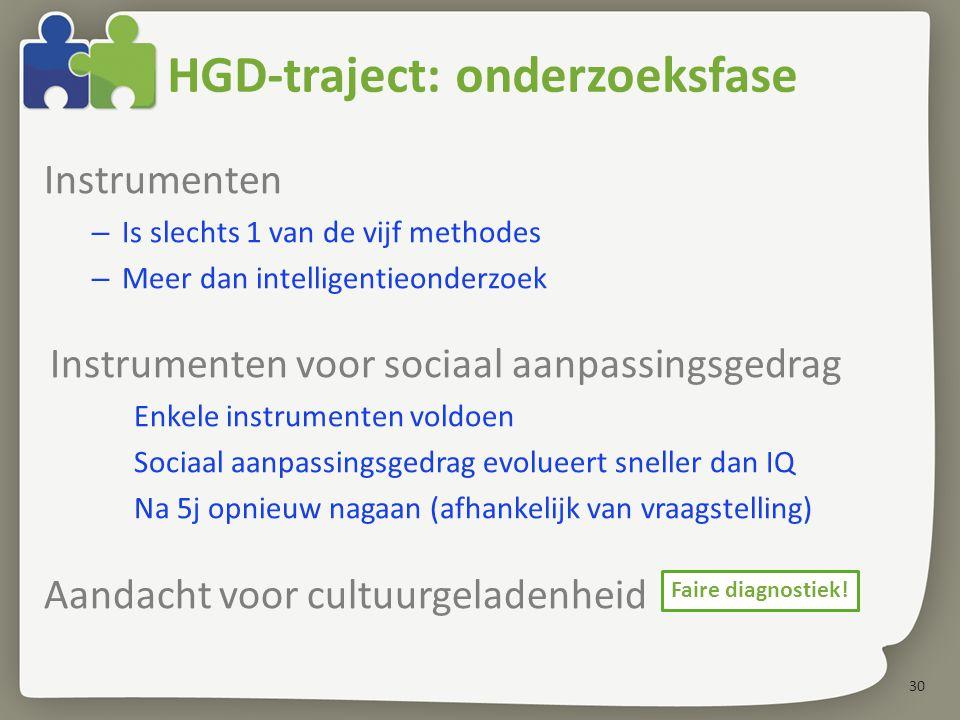 30 HGD-traject: onderzoeksfase Instrumenten – Is slechts 1 van de vijf methodes – Meer dan intelligentieonderzoek Instrumenten voor sociaal aanpassing