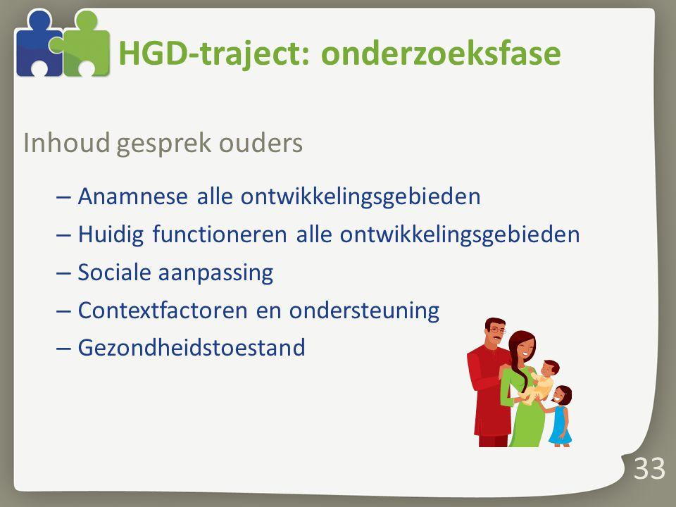 HGD-traject: onderzoeksfase Inhoud gesprek ouders – Anamnese alle ontwikkelingsgebieden – Huidig functioneren alle ontwikkelingsgebieden – Sociale aan