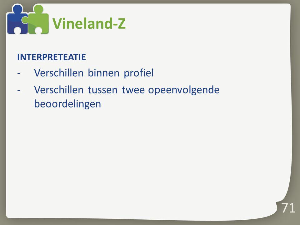 71 Vineland-Z INTERPRETEATIE -Verschillen binnen profiel -Verschillen tussen twee opeenvolgende beoordelingen