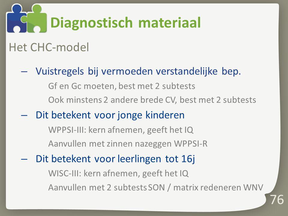 Diagnostisch materiaal Het CHC-model – Vuistregels bij vermoeden verstandelijke bep. Gf en Gc moeten, best met 2 subtests Ook minstens 2 andere brede