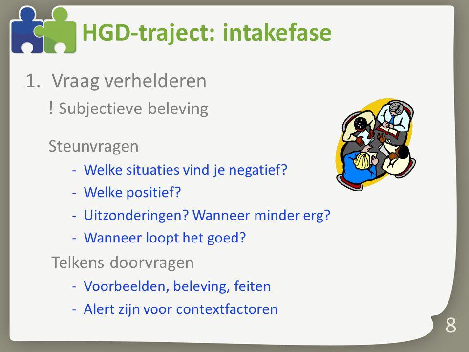 8 HGD-traject: intakefase 1.Vraag verhelderen ! Subjectieve beleving Steunvragen -Welke situaties vind je negatief? -Welke positief? -Uitzonderingen?