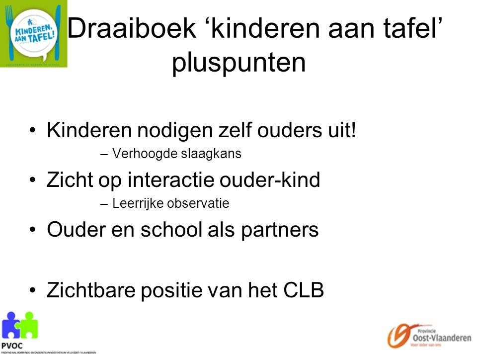 Draaiboek 'kinderen aan tafel' pluspunten Kinderen nodigen zelf ouders uit! –Verhoogde slaagkans Zicht op interactie ouder-kind –Leerrijke observatie