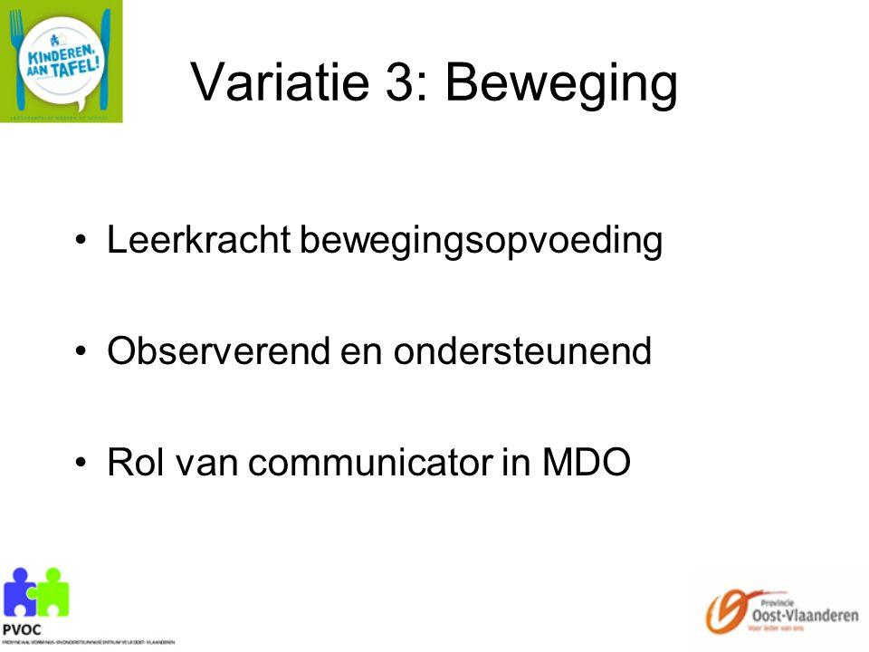 Variatie 3: Beweging Leerkracht bewegingsopvoeding Observerend en ondersteunend Rol van communicator in MDO