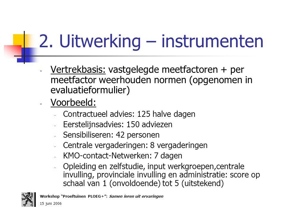 2. Uitwerking – instrumenten - Vertrekbasis: vastgelegde meetfactoren + per meetfactor weerhouden normen (opgenomen in evaluatieformulier) - Voorbeeld
