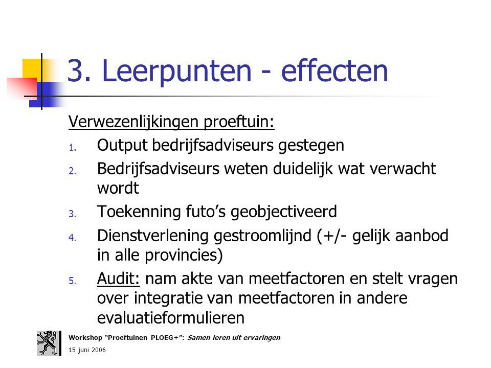 3. Leerpunten - effecten Verwezenlijkingen proeftuin: 1. Output bedrijfsadviseurs gestegen 2. Bedrijfsadviseurs weten duidelijk wat verwacht wordt 3.