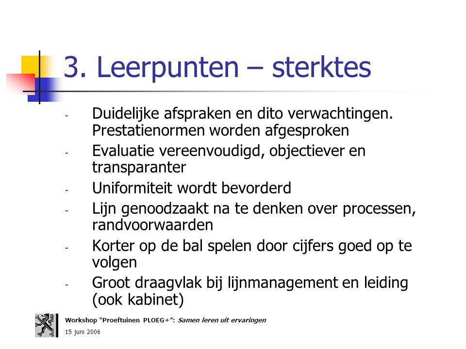 3. Leerpunten – sterktes - Duidelijke afspraken en dito verwachtingen. Prestatienormen worden afgesproken - Evaluatie vereenvoudigd, objectiever en tr