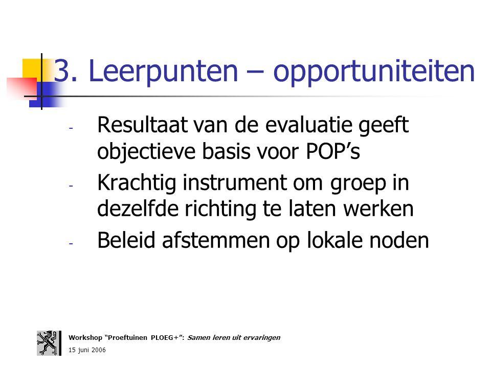 3. Leerpunten – opportuniteiten - Resultaat van de evaluatie geeft objectieve basis voor POP's - Krachtig instrument om groep in dezelfde richting te