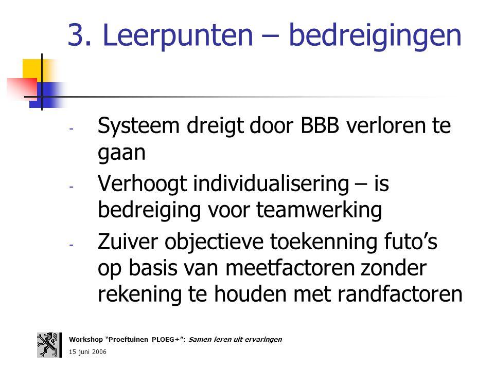 3. Leerpunten – bedreigingen - Systeem dreigt door BBB verloren te gaan - Verhoogt individualisering – is bedreiging voor teamwerking - Zuiver objecti