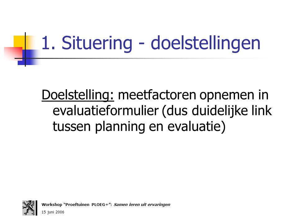 """1. Situering - doelstellingen Doelstelling: meetfactoren opnemen in evaluatieformulier (dus duidelijke link tussen planning en evaluatie) Workshop """"Pr"""