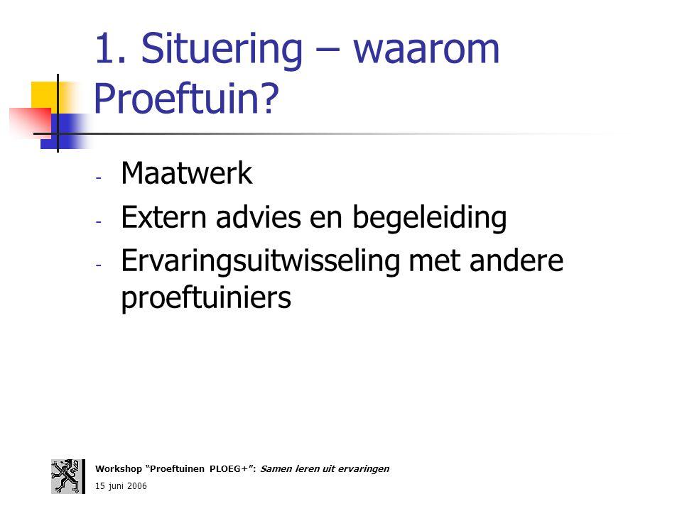 "1. Situering – waarom Proeftuin? - Maatwerk - Extern advies en begeleiding - Ervaringsuitwisseling met andere proeftuiniers Workshop ""Proeftuinen PLOE"