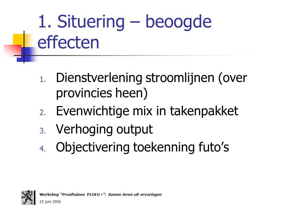 1. Situering – beoogde effecten 1. Dienstverlening stroomlijnen (over provincies heen) 2. Evenwichtige mix in takenpakket 3. Verhoging output 4. Objec