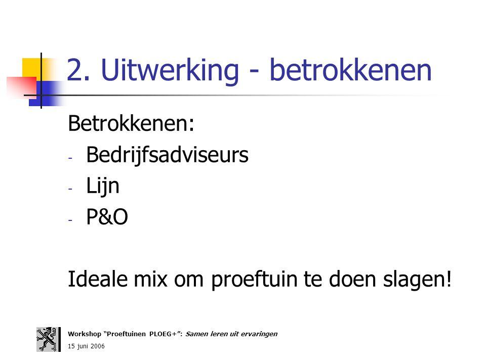 """2. Uitwerking - betrokkenen Betrokkenen: - Bedrijfsadviseurs - Lijn - P&O Ideale mix om proeftuin te doen slagen! Workshop """"Proeftuinen PLOEG+"""": Samen"""