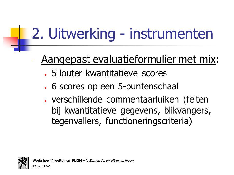 2. Uitwerking - instrumenten - Aangepast evaluatieformulier met mix: 5 louter kwantitatieve scores 6 scores op een 5-puntenschaal verschillende commen