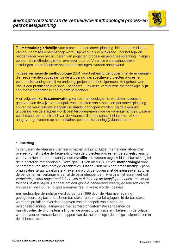 Bladzijde 1 van 6 Methodologie proces- en personeelsplanning Beknopt overzicht van de vernieuwde methodologie proces- en personeelsplanning De methodologierichtlijn voor proces- en personeelsplanning binnen het Ministerie van de Vlaamse Gemeenschap werd uitgewerkt als een leidraad voor het top- en middenkader voor het uitvoeren van projecten proces- en personeelsplanning in eigen beheer.