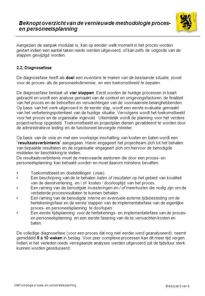 Bladzijde 3 van 6 Methodologie proces- en personeelsplanning Beknopt overzicht van de vernieuwde methodologie proces- en personeelsplanning Aangezien